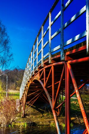 Vertical photo of the bridge with a cloudless sky