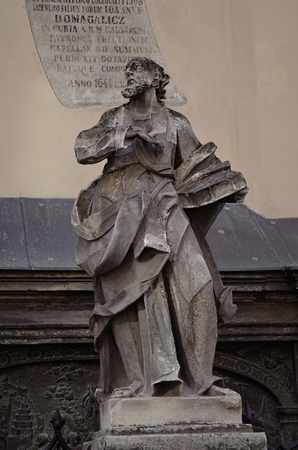 lemberg: An ancient statue in the center of Lviv, Ukraine
