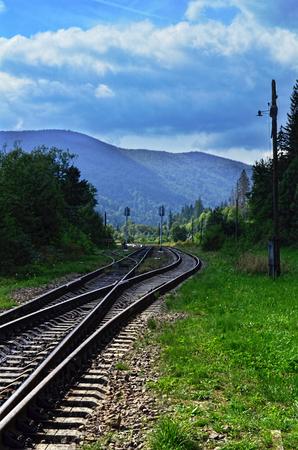 Railroad tracks in the Carpathian mountains