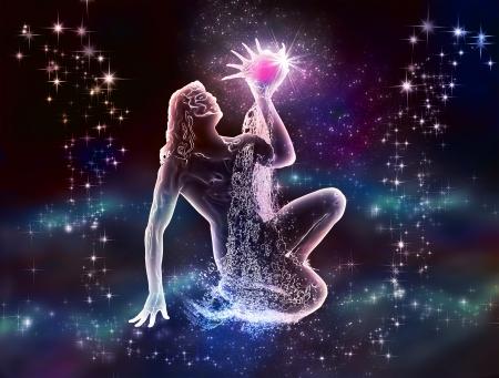 Zodiacal Acuario Agua-Portador es mística y el encanto del cielo nocturno y el mar sus sueños y fantasías Foto de archivo - 20395595