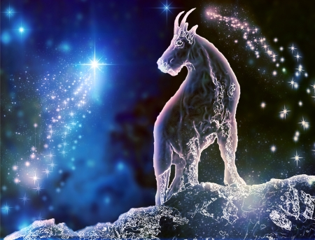 seraphic: Goat is a mystical zodiac animal  Capricorn is the most stubborn sign  Feel the difference between astronomy and astrology  Stock Photo