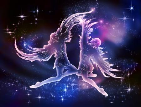 Gemini is een lucht Aanmelden Twins zijn de belichaming van tederheid, vreugde en vriendschap Dompel je onder in de wereld van schoonheid en het paradijs Stockfoto