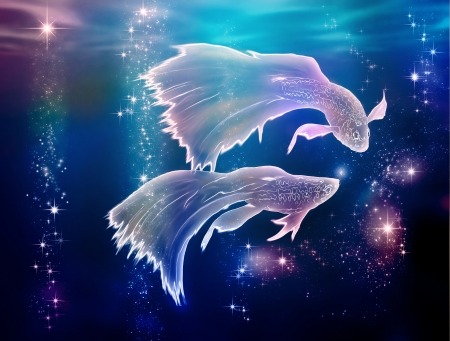 pisces: Fairy tale begins where life began  Pisces is an astrological sign  They are floating on the Milky Way in Space  Stock Photo