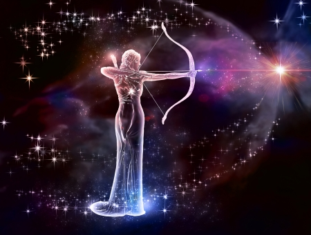 If your sign is Sagittarius, this image is for you  Archer is a fire sign  Cosmic Fire, a warrior of the universe Stock fotó - 20395594