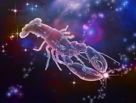 深い海はひどい、美しいがんが現実を超えて見てカニの星座の星座 写真素材