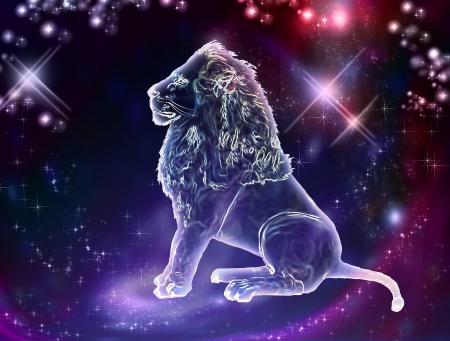 Leeuw is de koning van de dieren Het sterrenbeeld Leeuw is een teken van de leiders een sterke geest, sterk lichaam, sterke wil Stockfoto
