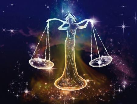 9월에서 10월까지 천칭 정의, 균형과 평형 공기,이 기호의 예술적, 정서적 대표의 공간 특성입니다 균형의 별자리의 달입니다