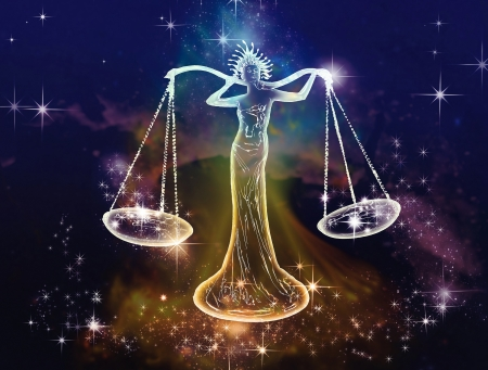 seraphic: September - October are the months of the zodiac sign of the balance  Libra is Space attribute of justice, balance and equilibrium  Air, artistic, emotional representatives of this sign  Stock Photo