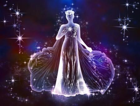 우주 조디악 처녀 자리의 아름다움과 부드러움은 우주의 사랑이 사랑을 느낄 수 있습니다 스톡 콘텐츠