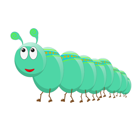 happy Green caterpillar centipede Illustration