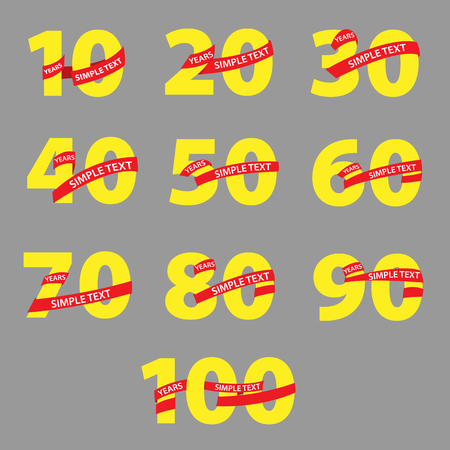 40: Yellow numbers with red ribbons anniversary Illustration