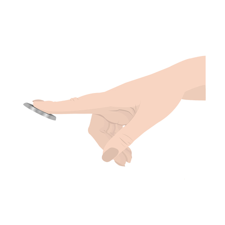 The persons hand presses the button Vector illustration Illustration