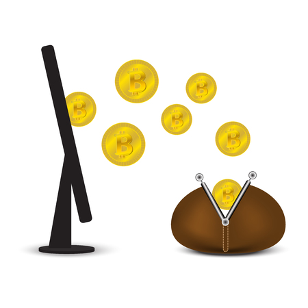 pouch: Coins Bitcoin and Ethereum with a wallet and a monitor Illustration