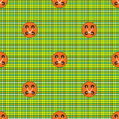 Seamless pattern checkered fabric green with orange buttons