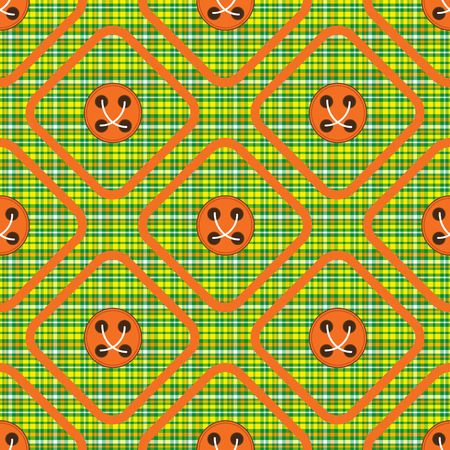 Green cloth in a box with orange buttons rhombus seamless pattern.