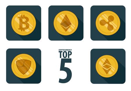 set of 5 basic cryptocurrency