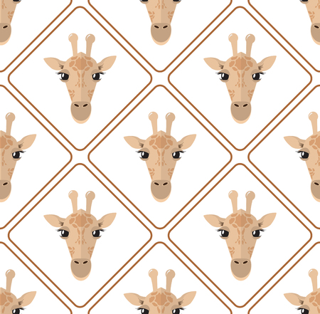 Seamless pattern with giraffes rhombuses on white background