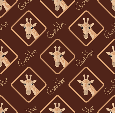 Seamless pattern with giraffes on a brown chocolate background head and signature Illustration
