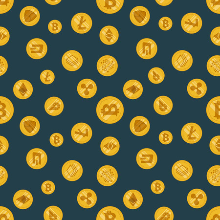 Seamless pattern different cryptocurrency flat icon on a dark background Illustration