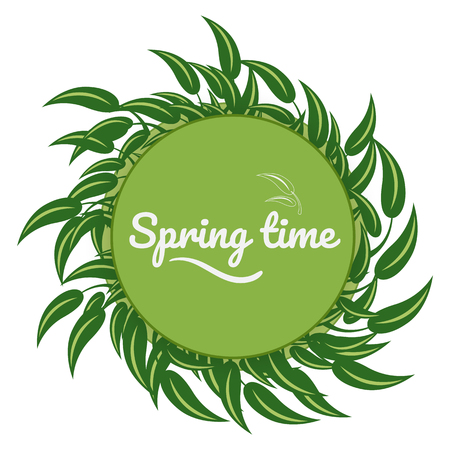 earth day: Green leaves around a green background for postcards spring time