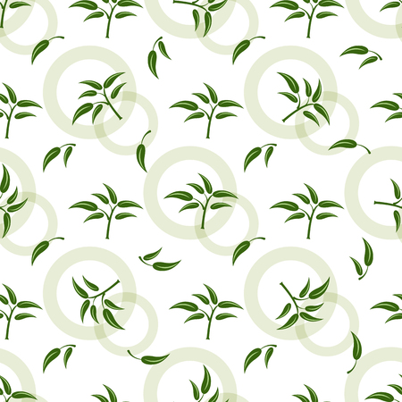 Seamless pattern with green sprigs Illustration