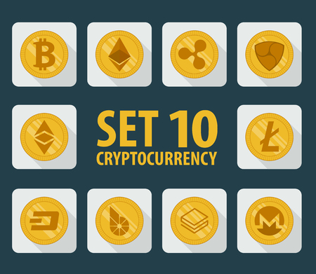 Set of 10 flat currency cryptocurrency Vector Illustration