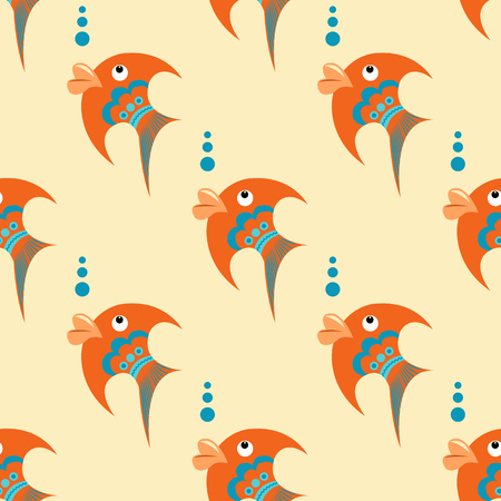 Bright orange fish with blue ornament on a beige background. Seamless pattern in a flat style