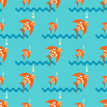 Bright orange fish on a blue background with waves and bubbles. Seamless pattern in a flat style Illustration