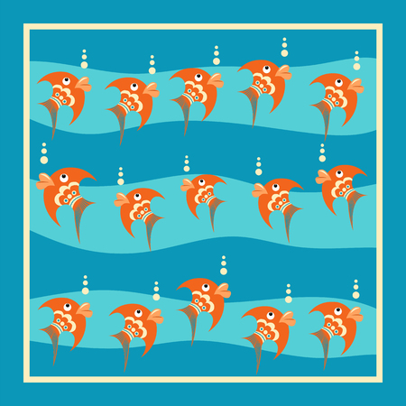 Bright orange fish with bubbles on a blue background. Pattern with white frame