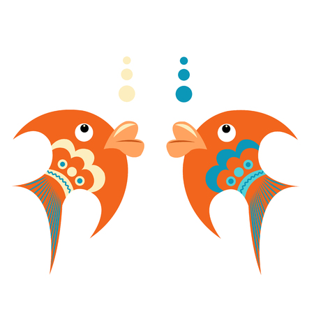 Bright orange tropical fish with blue ornament on a white background Illustration