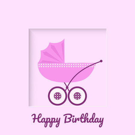 Baby carriage on pink background greeting card for newborn baby