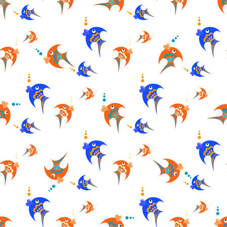 Blue and orange fish on a white background. Seamless vector pattern