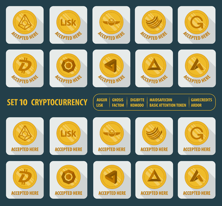 set icon flat of ten different cryptocurrency Illustration
