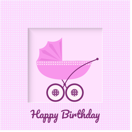 Baby carriage on pink background in a box greeting card for newborn baby