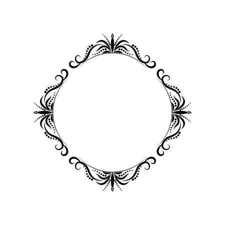 baroque: Classic black vintage round contour frame. Vector element
