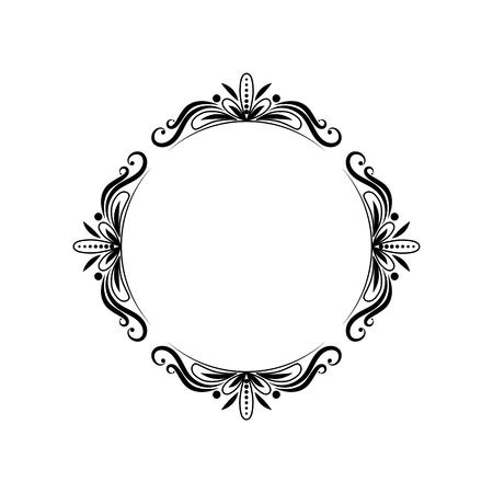 Classic black round vintage pattern. Vector Frame Çizim