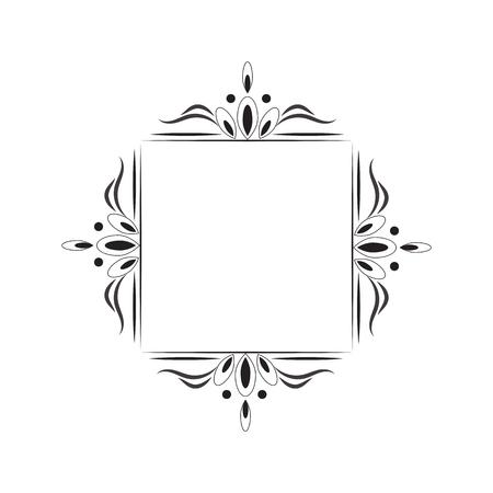 baroque: Vintage black contour square frame monogram. Vector element