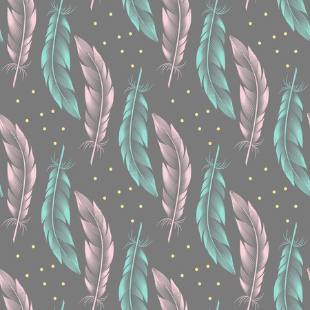 Blue and pink feathers with yellow dots on a gray background. Seamless pattern
