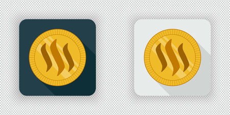 Light and dark crypto currency icon Steem on a transparent background