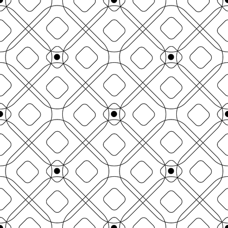 Abstract seamless pattern with geometric figures intersecting rhombuses and circles. Contour vector illustration Illustration