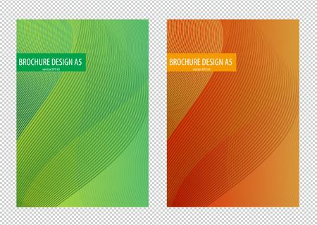 エレガントなシンプルなグリーンとオレンジのグラデーション背景にデザイン チラシ パンフレット イラストの波。
