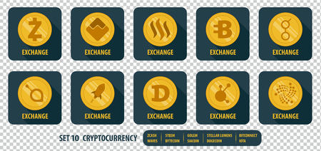 set of different vector icons exchange cryptocurrency on dark background with long shadows Illustration