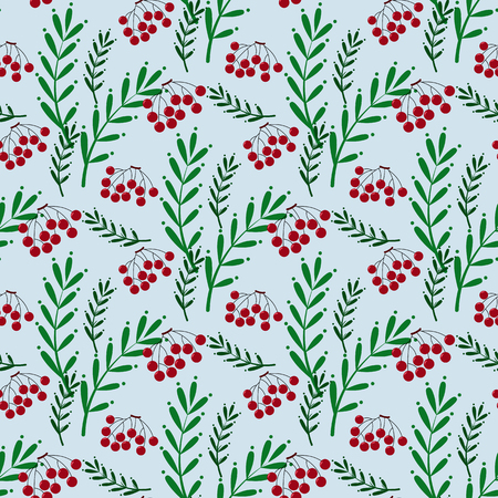 Colorful seamless pattern for textiles and polygraphy with red mountain ash and green leaves in Hawaiian style