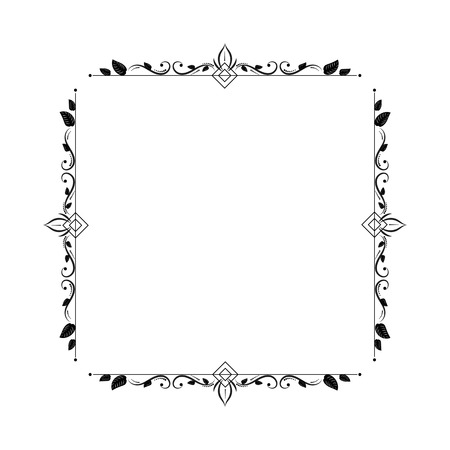 Vintage elegant contour frame with rhombus squares and stems