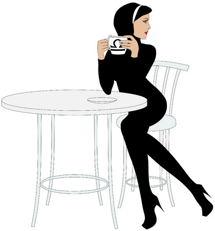 woman drinking coffee: This image is a vector illustration and can be scaled to any size without loss of resolution.