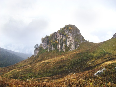 Free-standing steep rock, overgrown trees, on a plateau on the background of clouds the sky