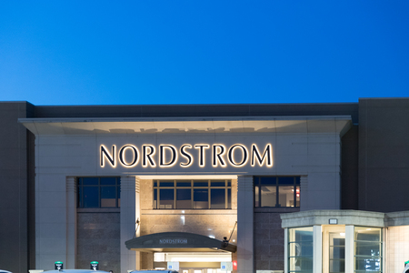 Philadelphia, Pennsylvania, May 21 2018: Nordstrom Retail Mall Location. Nordstrom is Known for its Service and Fashion V. at night Sajtókép