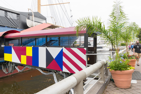 One of the numerous boats at the Spruce Street Harbor Park, Philadelphia, PA, USA. May 28, 2018.