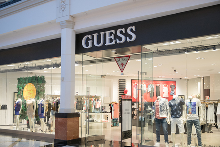 Philadelphia, Pennsylvania, May 30 2018:Guess Store in Philadelphia Mall. Guess is an American clothing line brand markets other fashion accessories besides clothes, such as watches, jewellery and per Editorial