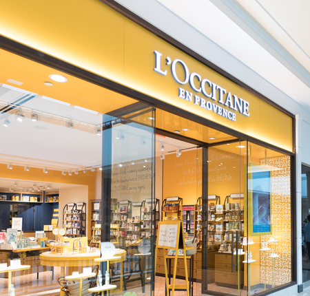 Philadelphia, Pennsylvania, May 19 2018: LOccitane store front in Philadelphia. LOccitane, is an international retailer of body, face, fragrances and home product. Editorial